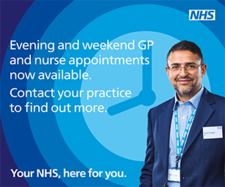 Poster: Evening and weekend GP and Nurse appointments now available.